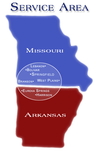 Missouri and Arkansas Service Area Map